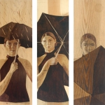 """""""Sun Shower"""" (trilogy), Stain on Wood, 36"""" x 12"""" each"""